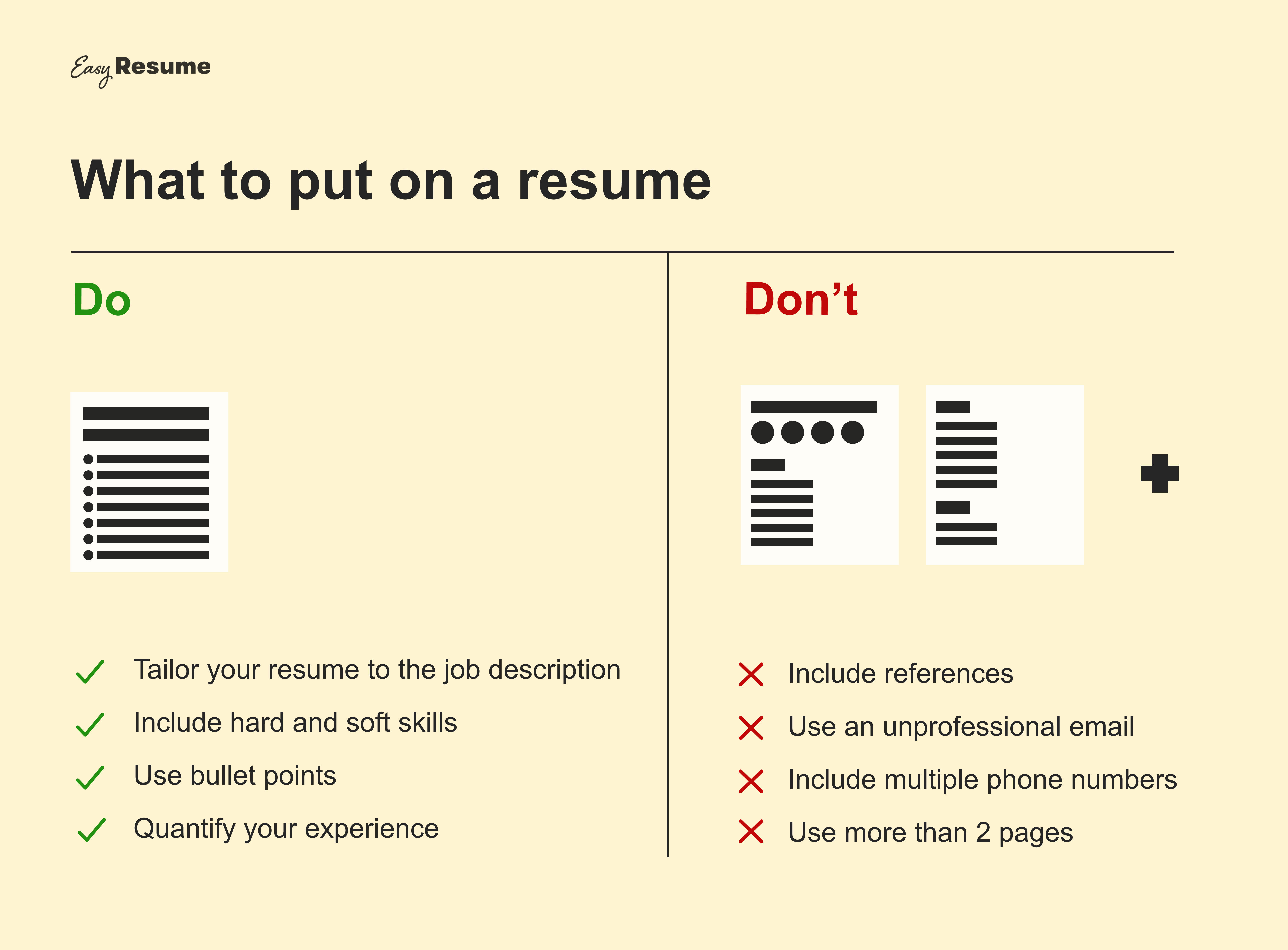 What to put and not put on a resume