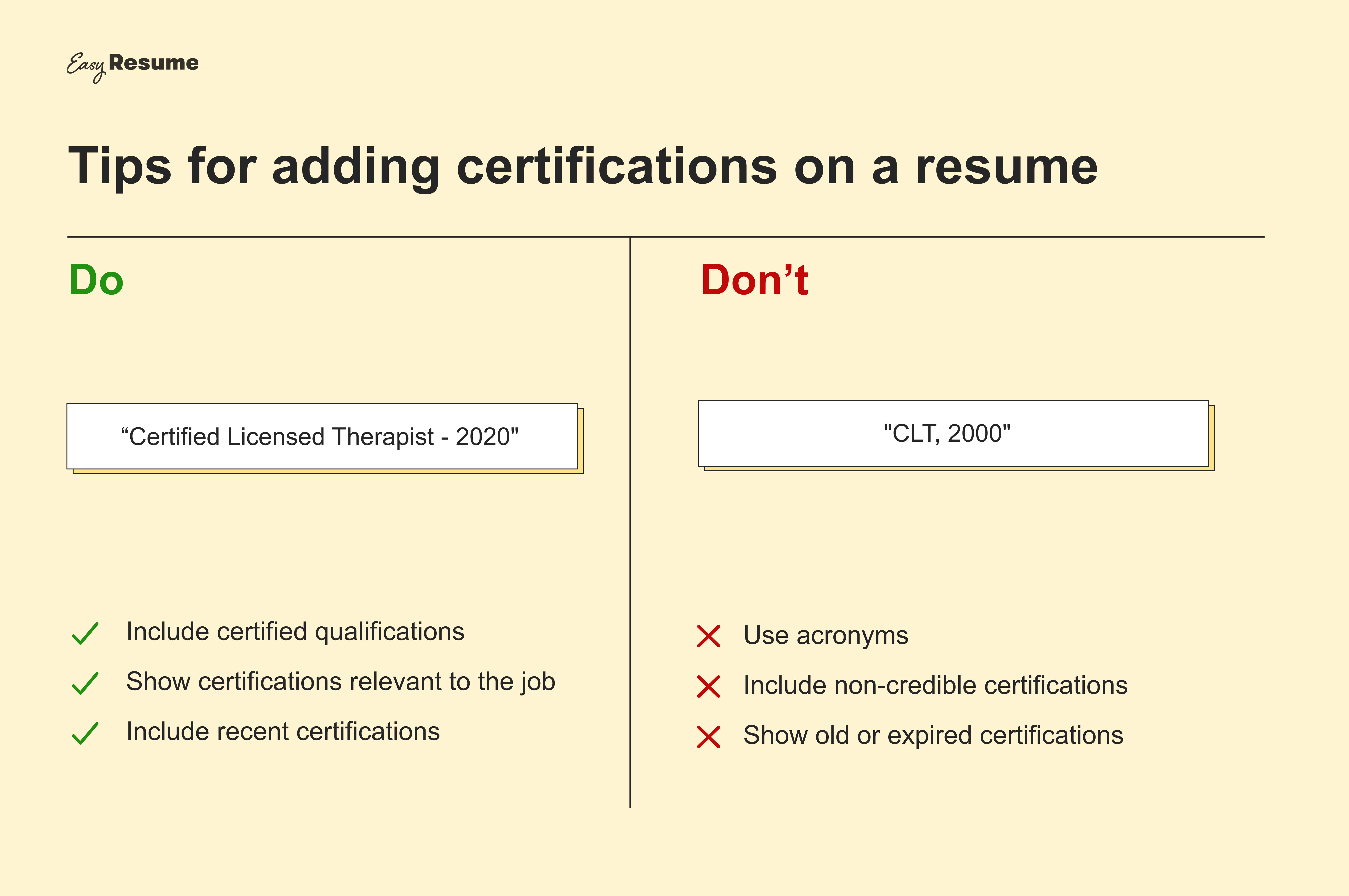 Tips for adding certifications to a resume