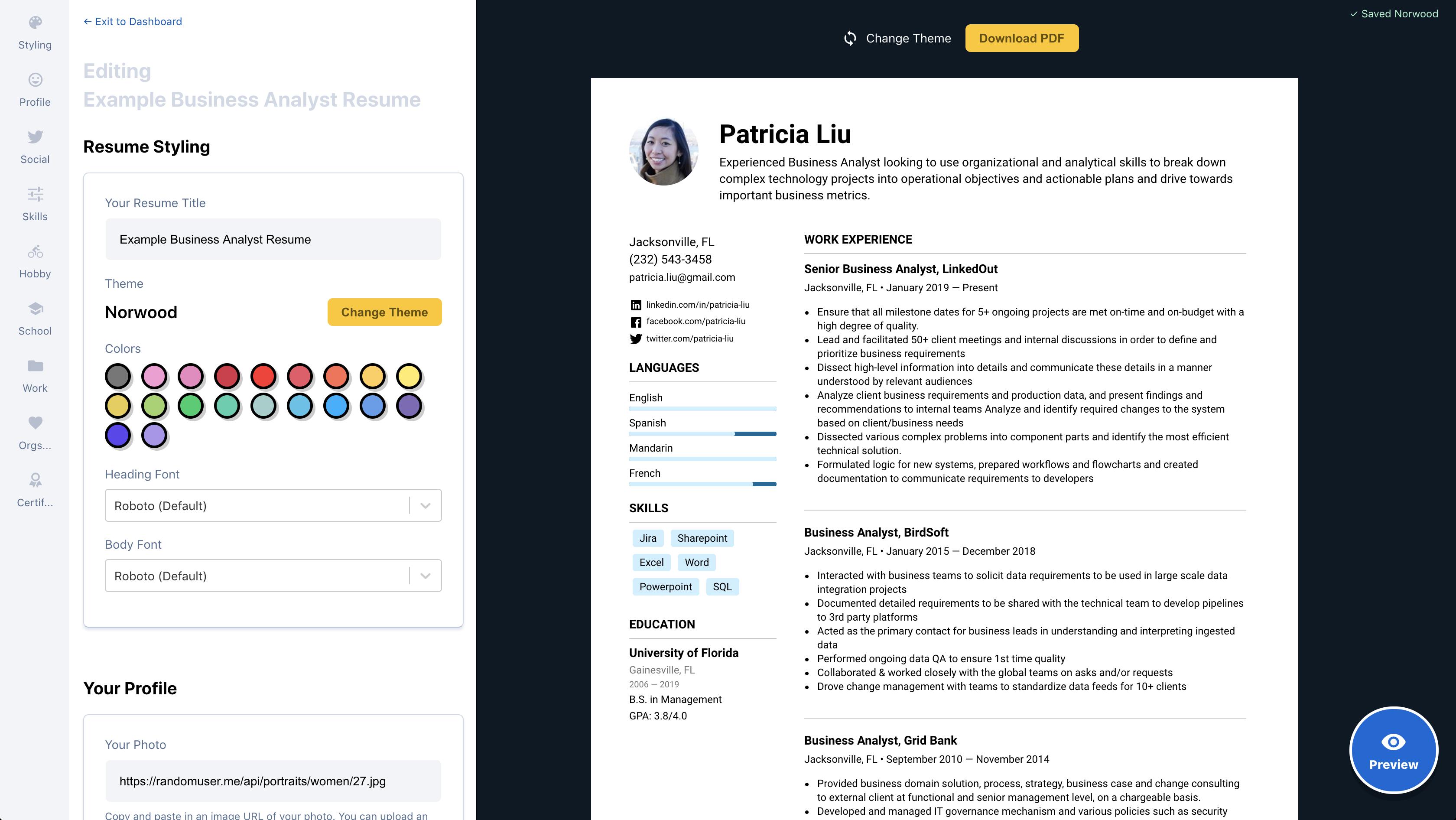 product screenshot of easy resume builder demo