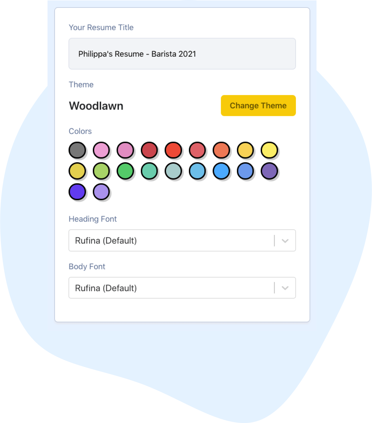 Product screenshot of how to edit the colors and fonts in Easy Resume editor app