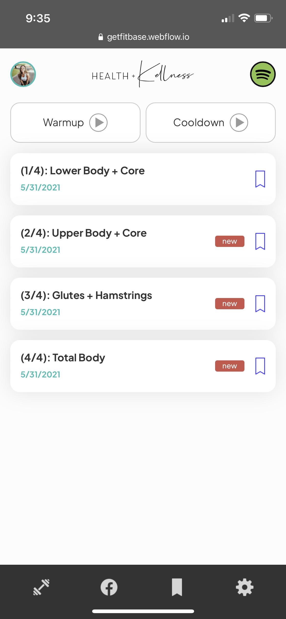 app screen program page