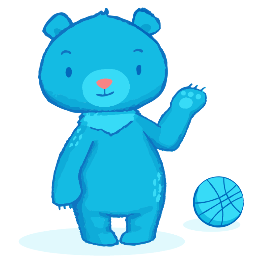 Bear with basketball illustration