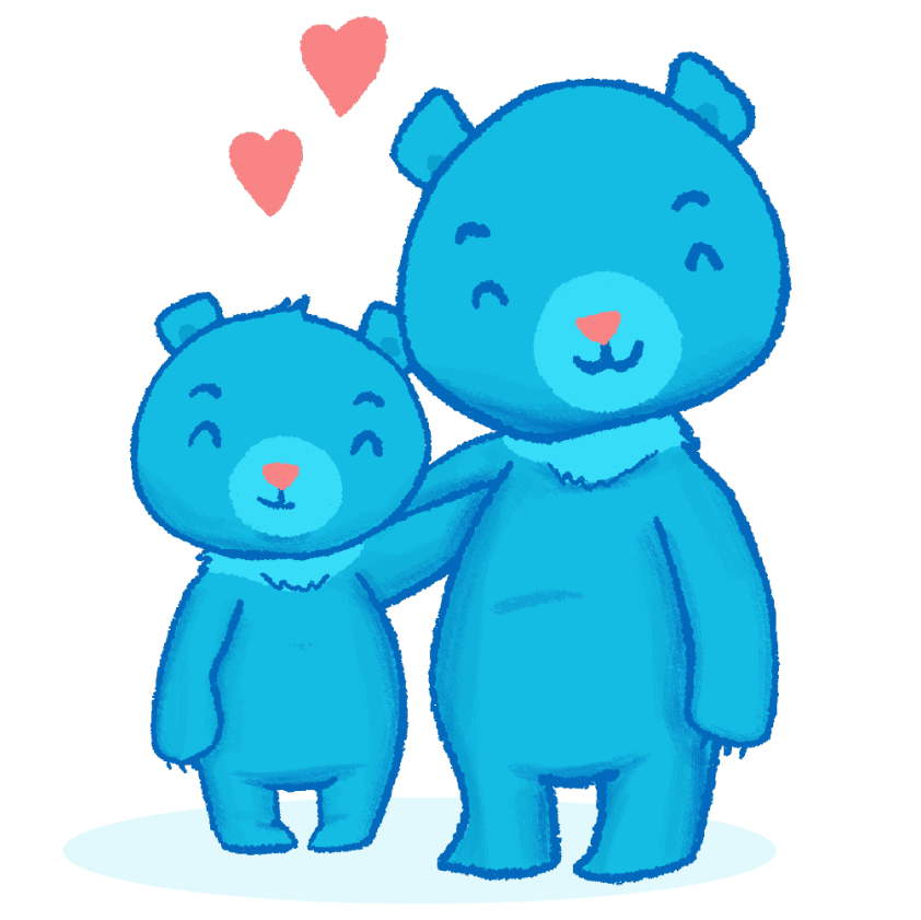 Mama and baby bear illustration