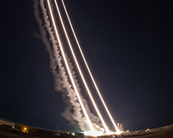 Light trails from rockets