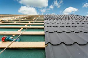 metal roof under construction