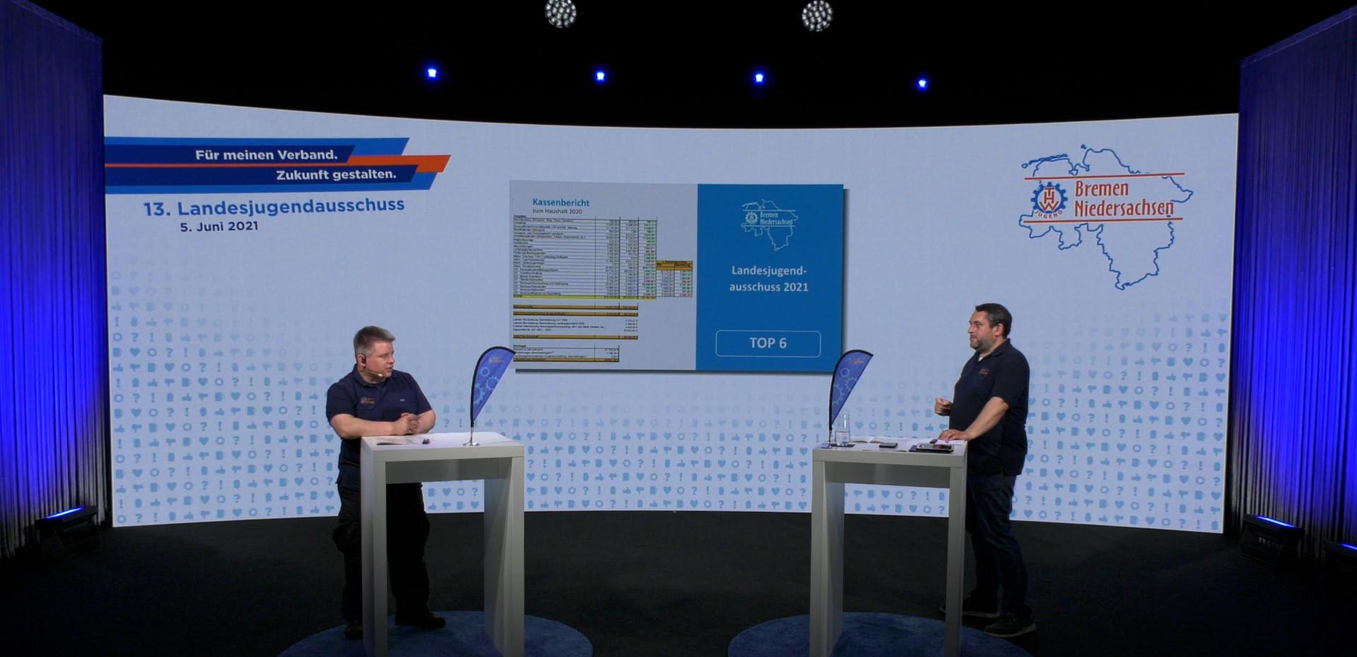 Tim Kohnen (Kassenwart) und Mark-Phillip Becker (Landesjugendleiter) berichten über die Mittelverausgabung im zurückliegenden Haushaltsjahr 2020.