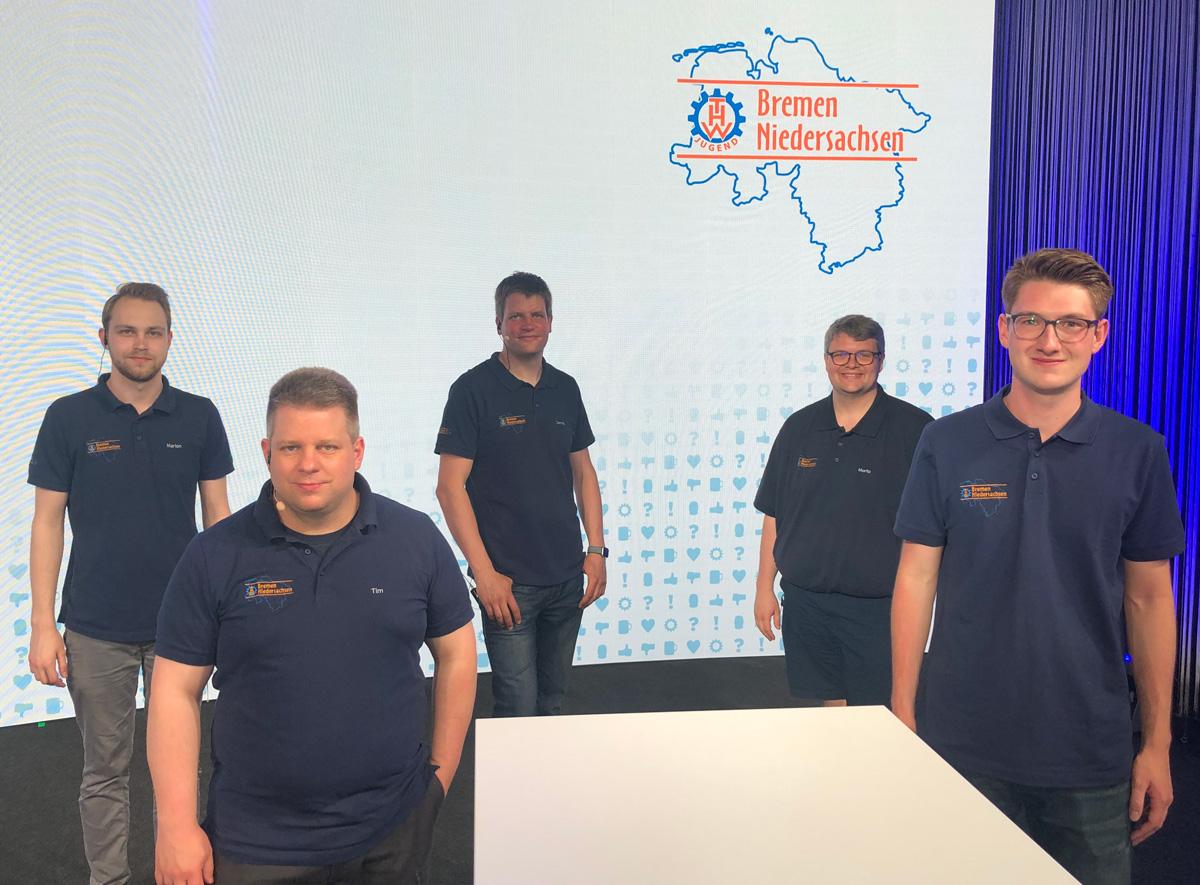 Neue Mitglieder der Landesjugendleitung (v.l.n.r.): Marlon Gerdelmann, Tim Kohnen, Dennis Zelle, Moritz Bernabei, Fynn Telgen