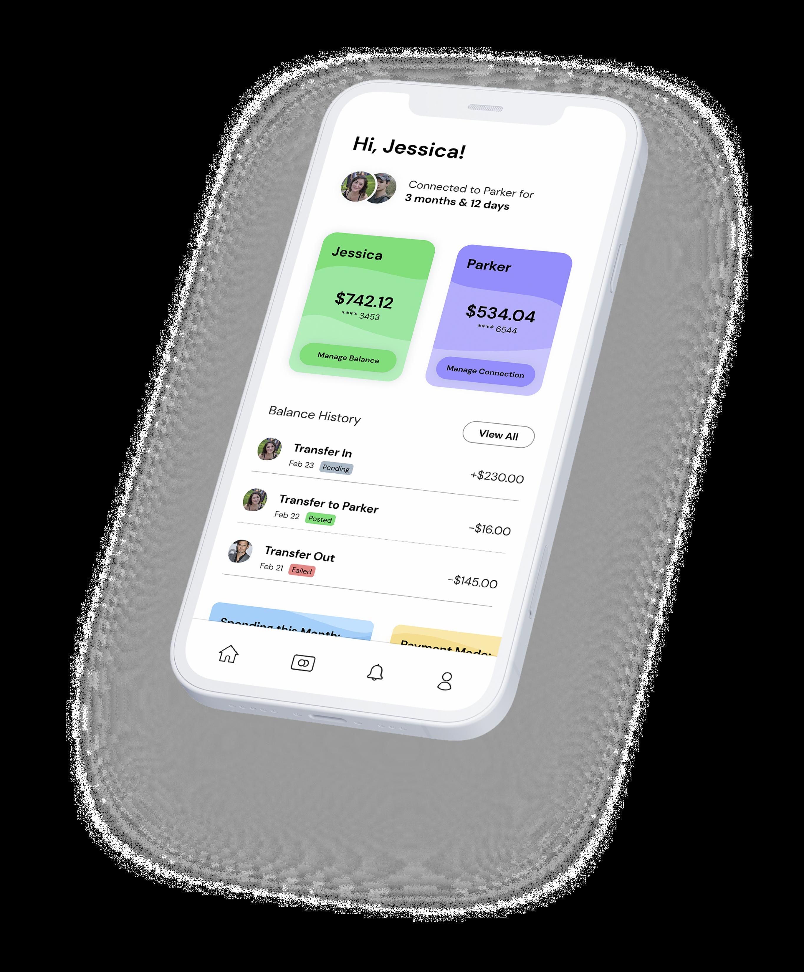 Ivella iOS mobile app mockup on a white phone
