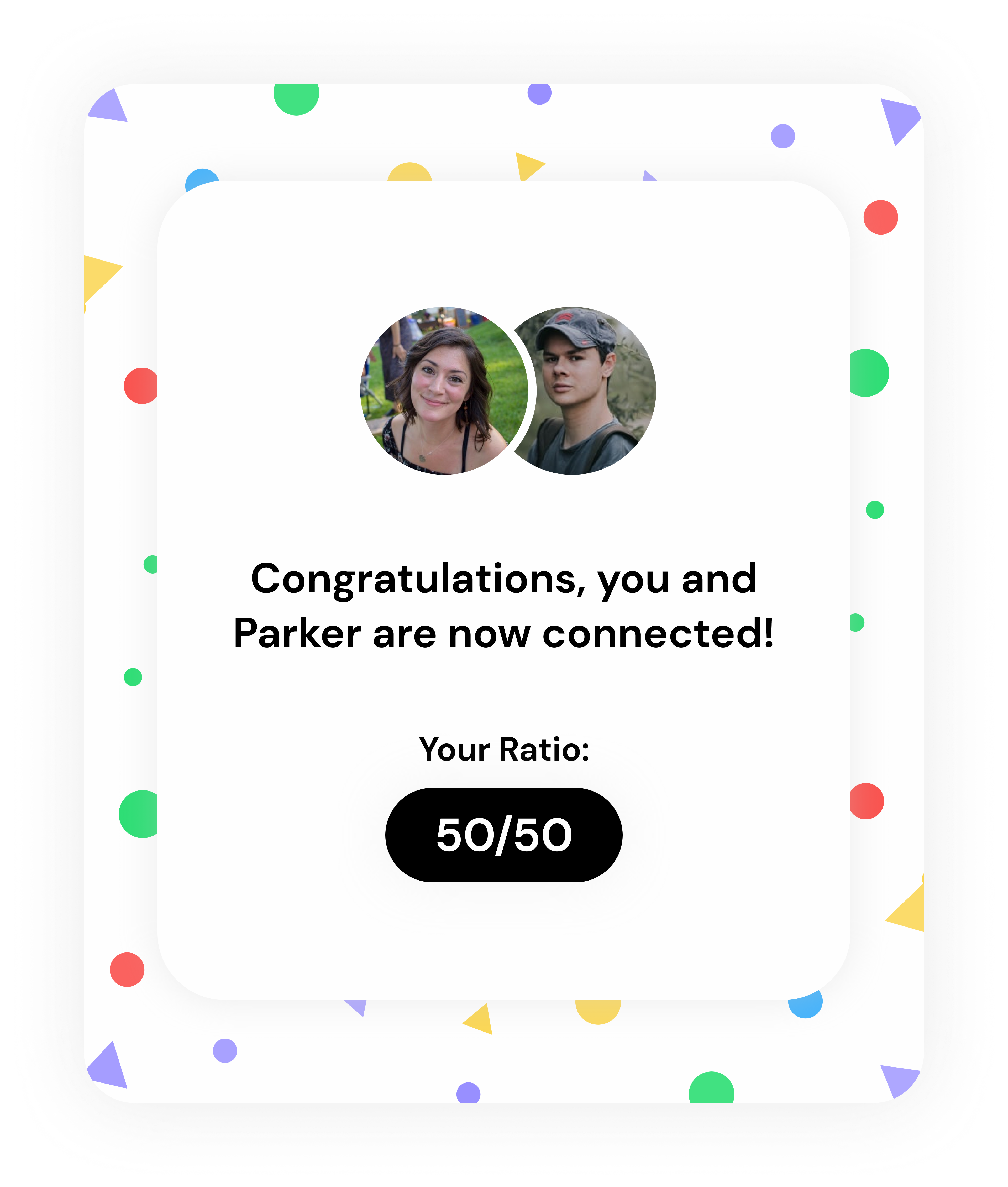 Ivella connect to partner screen with default account ratio.