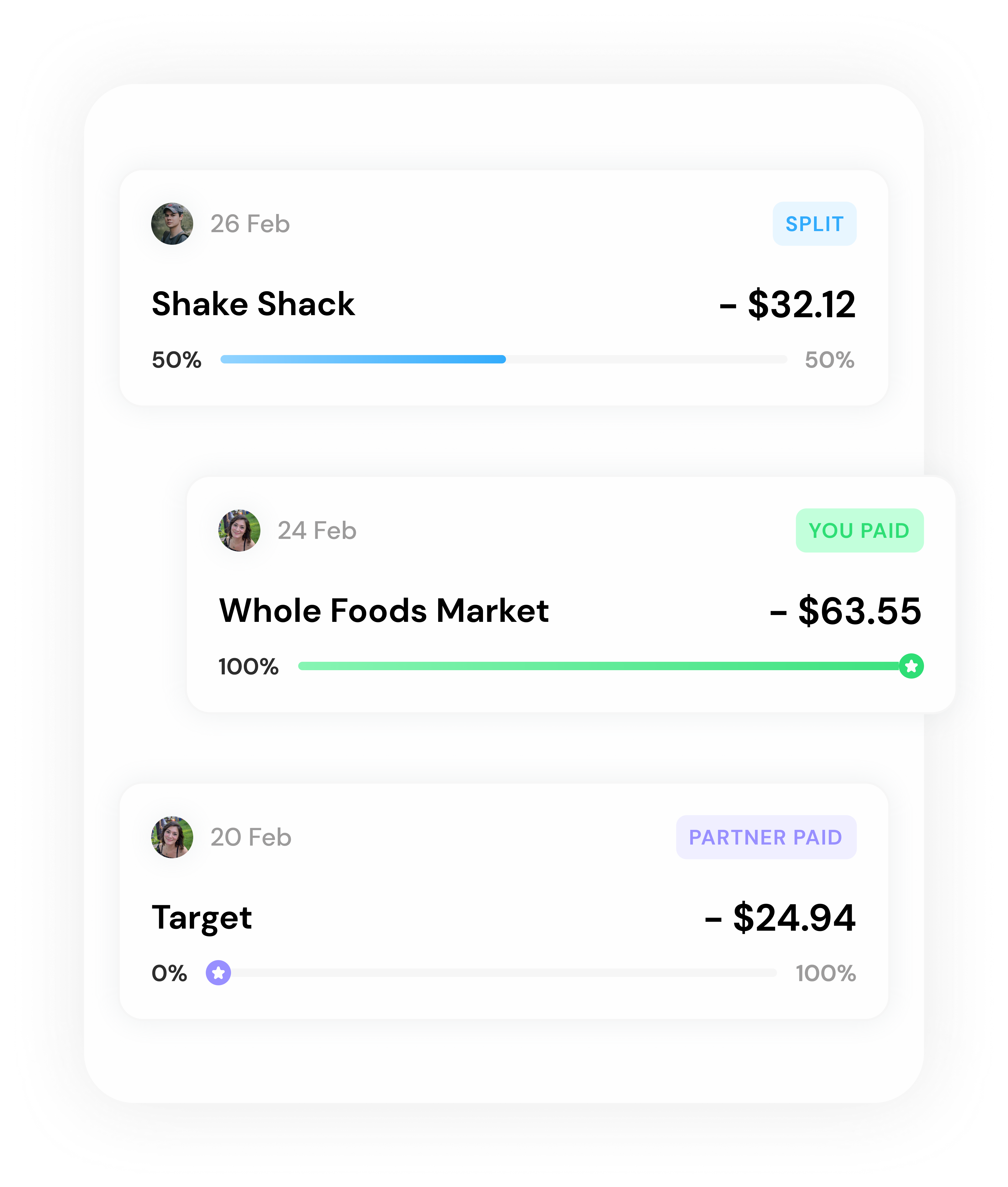 Ivella transactions screen with examples from Shake Shack, Whole Foods Market, and Target.