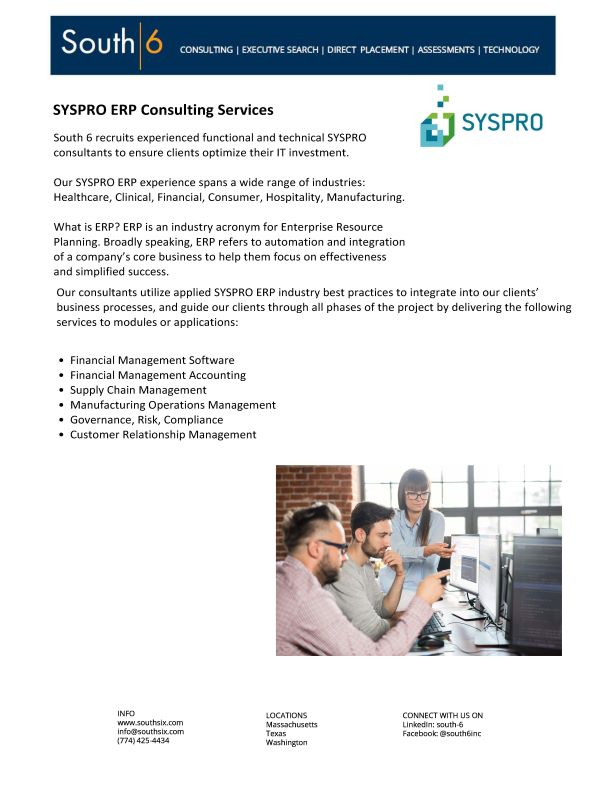 Cover of SYSPRO ERP Consulting Services PDF