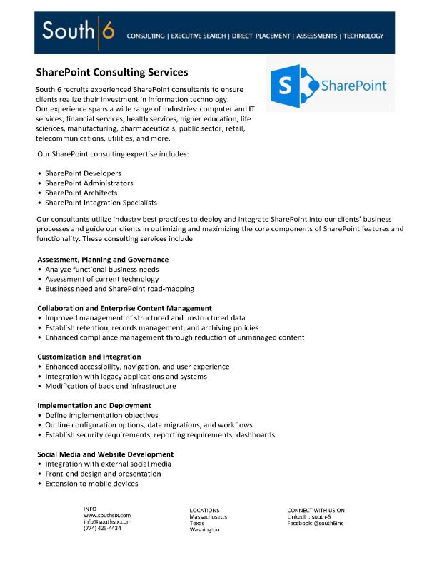 Cover of MS Sharepoint Consulting Services PDF