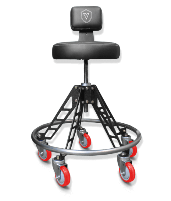 Elevated adjustable Vyper Chair stool with backrest