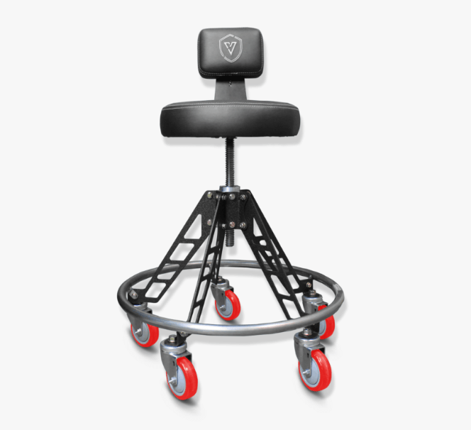 An Elevated Adjustable Vyper Chair stool with backrest