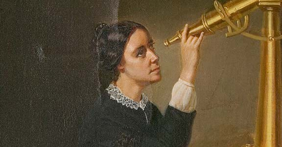 old time image of woman looking through telescope