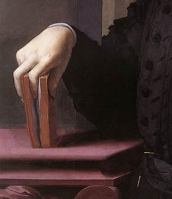 Artistic image of man holding book