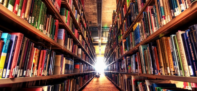 Books on bookshelves which creates a tunnel view with light