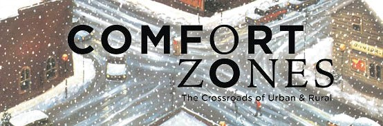"Snowy street background with ""Comfort Zones"" in black"
