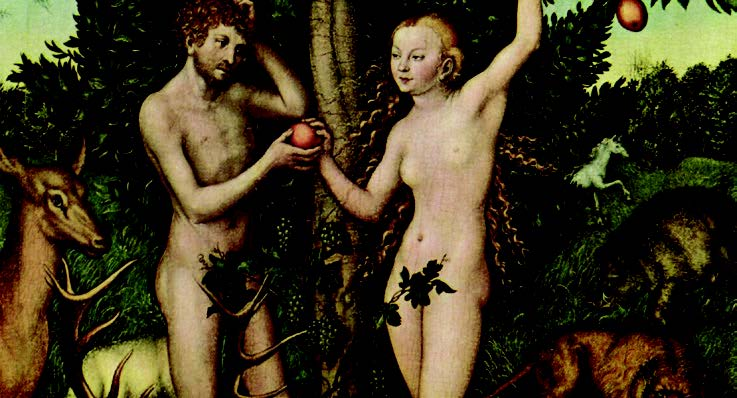 A painting of Adam and Eve in the garden of eden at the moment of the original sin