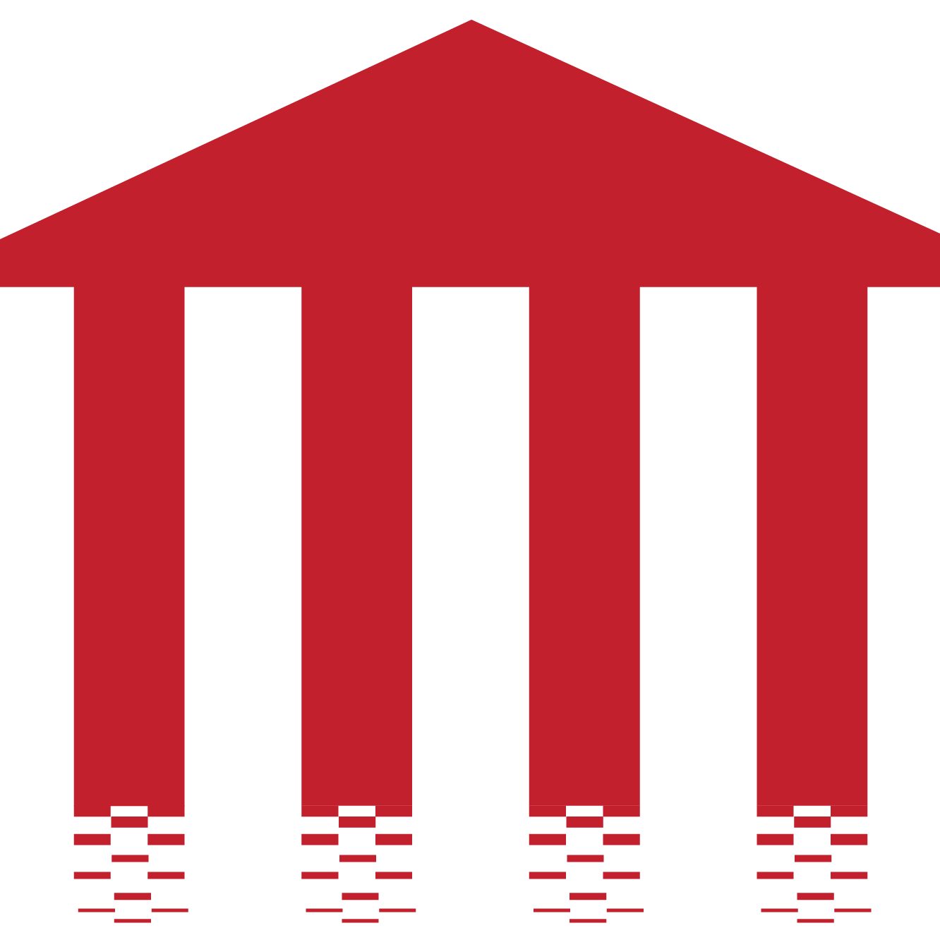 Red image of a building resembling one of ancient greece