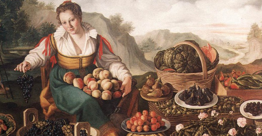 Painting of woman surrounded by basket of fruits