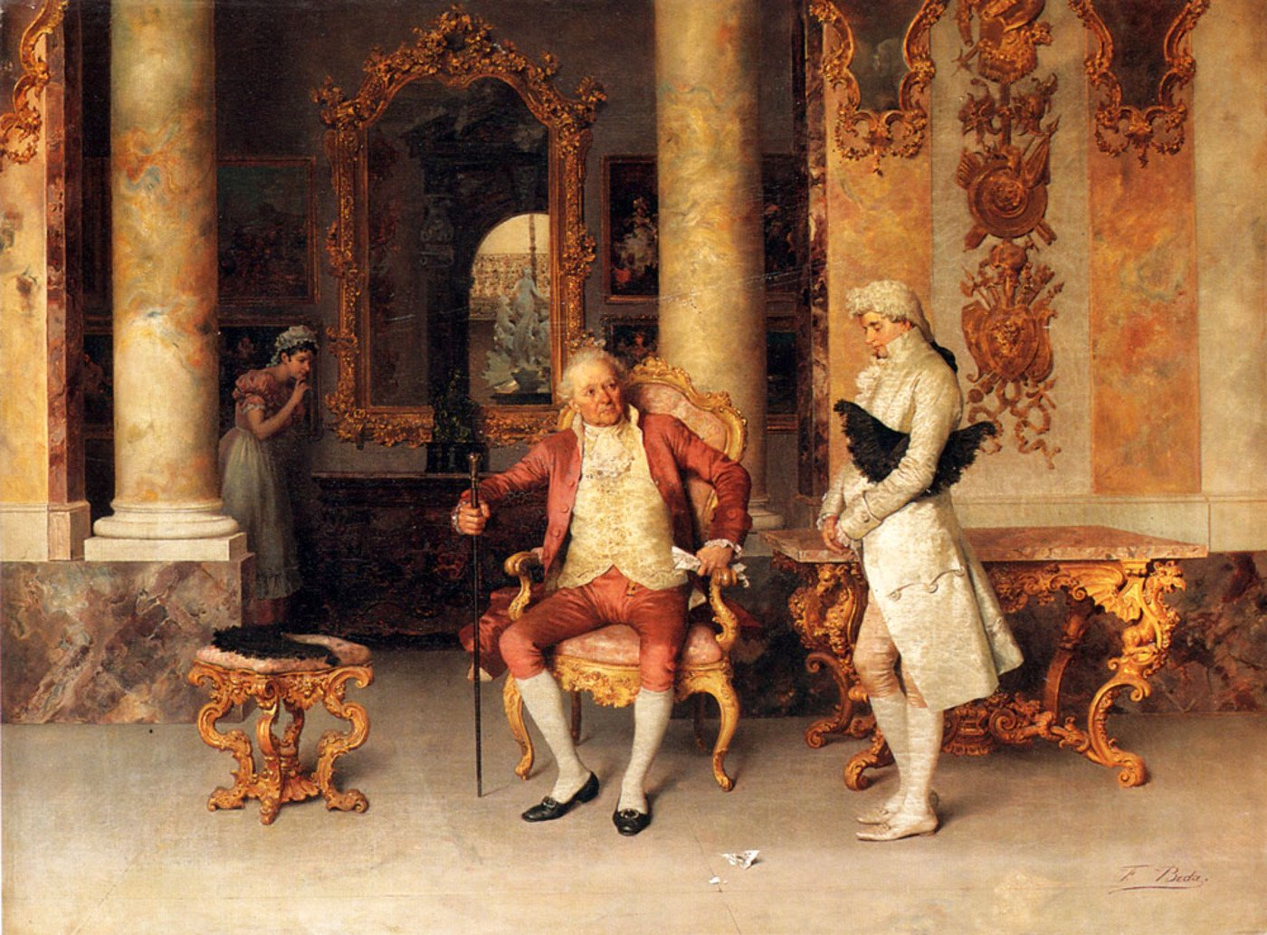 Painting of a woman eavesdropping on two men speaking in a parlor