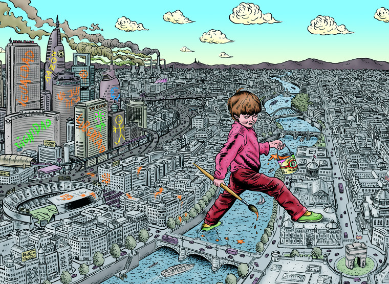Brieva cartoon kid walking over city