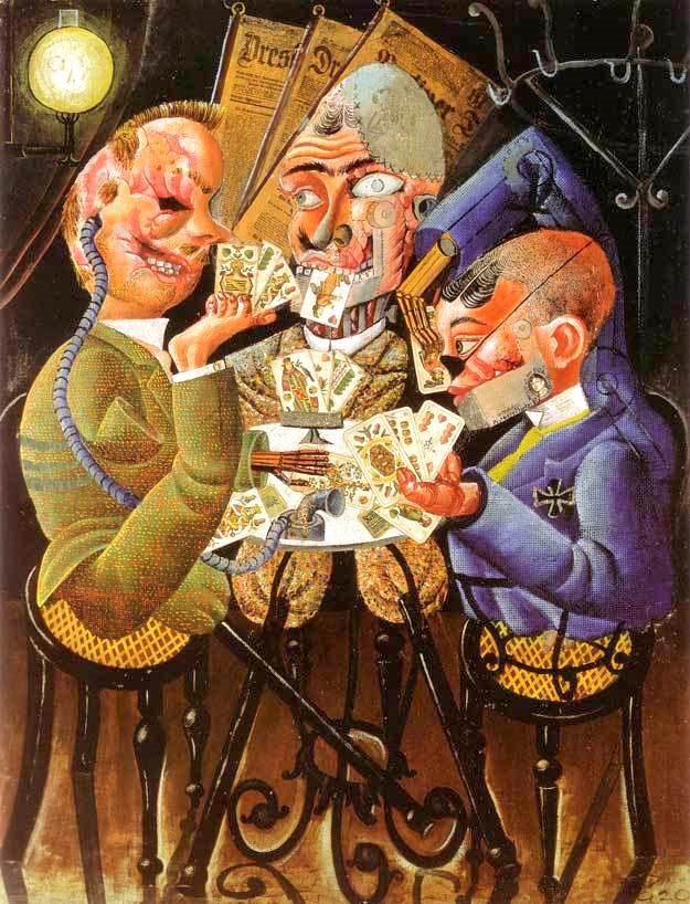 """Otto Dix """"The Myth of Palestine"""" Three injured from war and with differing prosthetics men playing cards"""