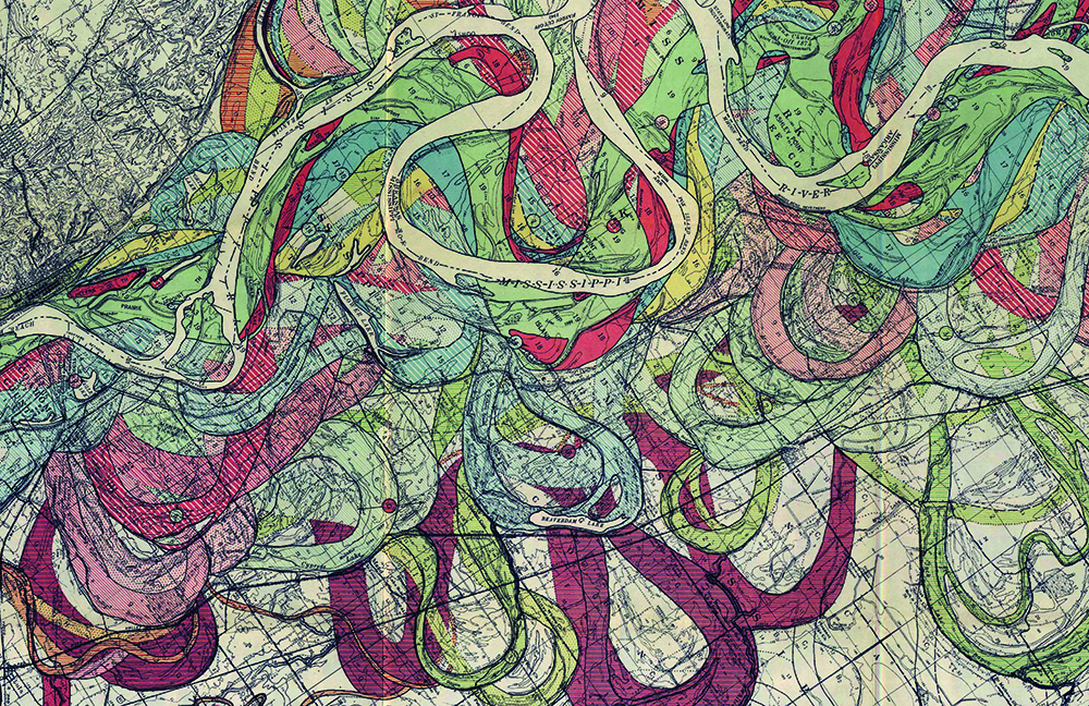 earthy drawing of ribbons clustered together weaving in and out of each other