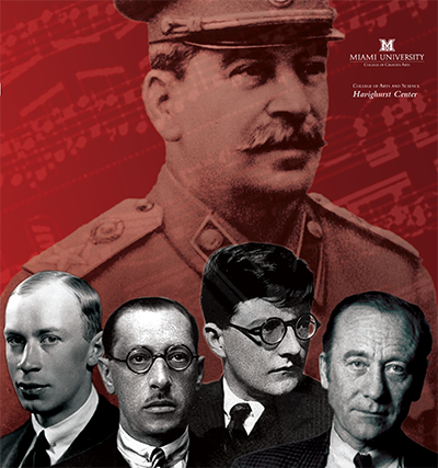 Russian composers Shostakovich, Stravinsky, Prokofiev and Shchedrin on a red background with Stalin