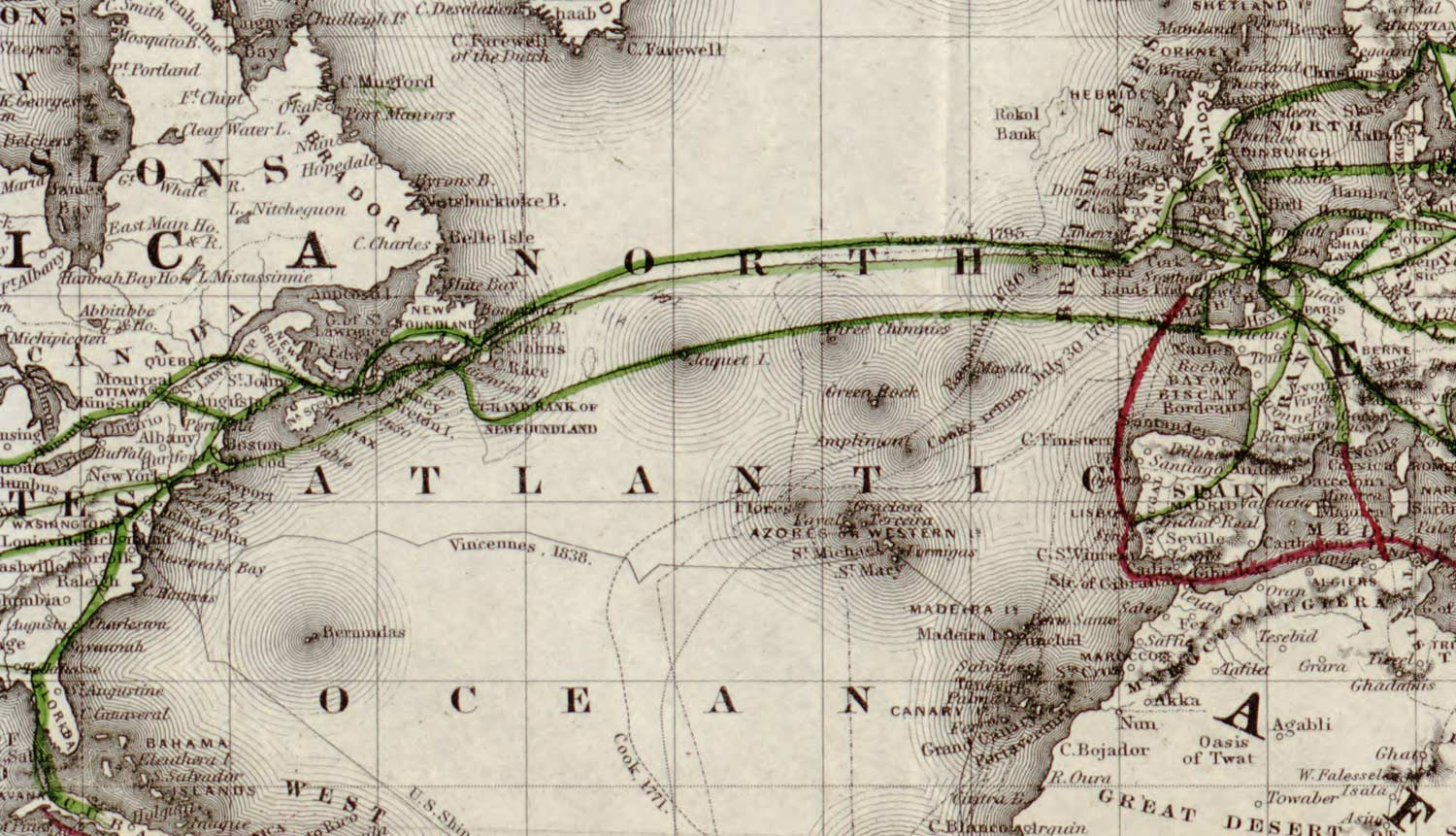 map of transatlantic telegraph cables
