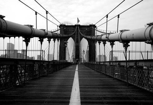 Black and white picture of a bridge