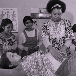 Midwife preparing for birth