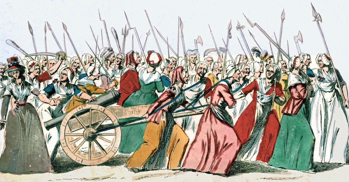 Sketched women pulling a cannon and holding pitch forks