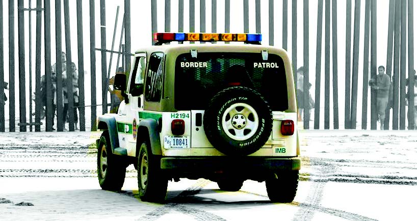 A hummer looks on towards a border