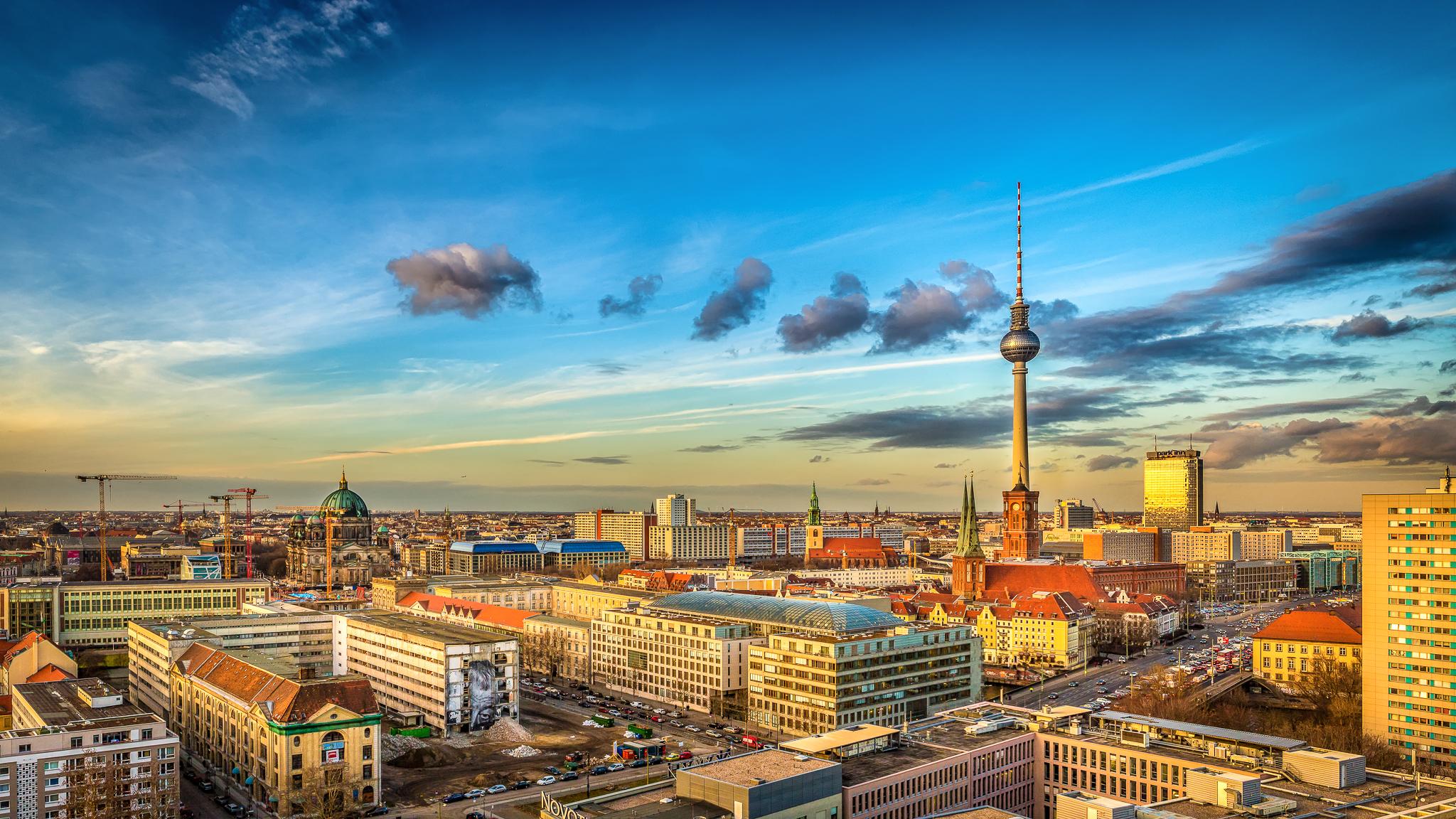 Berlin skyline as the sun sets
