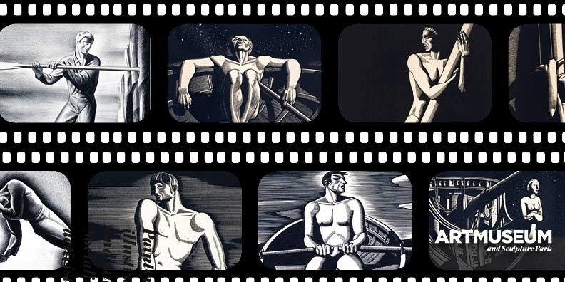 Film strip of black and white images