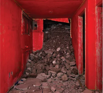 red room with rocks