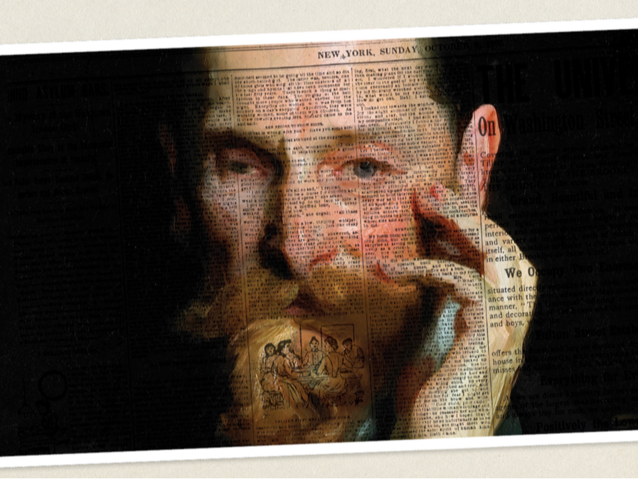 An image of Joseph Pulitzer overlayed with newspaper print on a black background