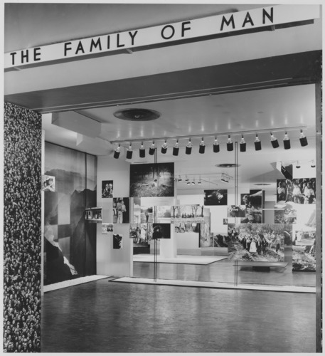 Exhibit entrance of the photo graphic exhibition 'family of man' at the Museum of Modern Art in New Your City
