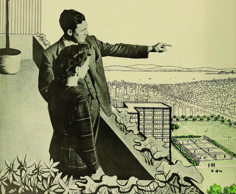 An urban planning guide from the 1940s depicts a man showing a woman how the city should be developed