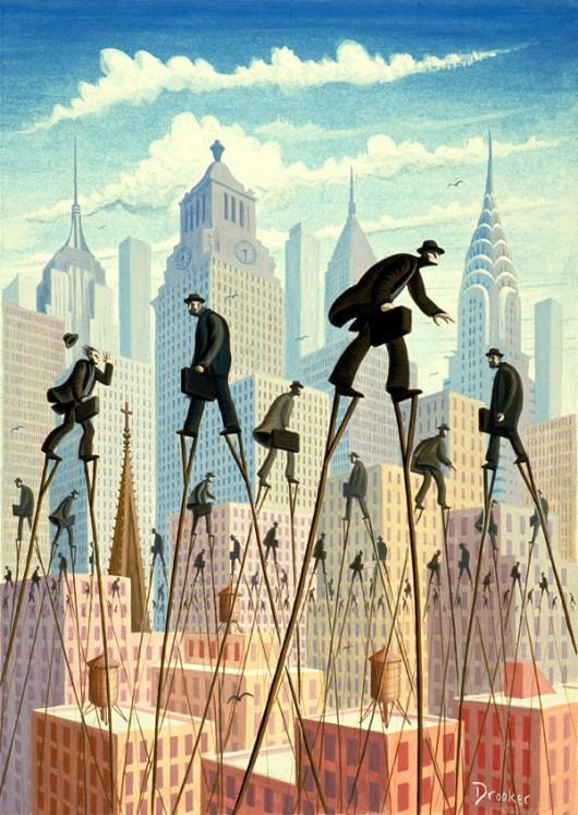 Business men walking over a city-scape on stilts