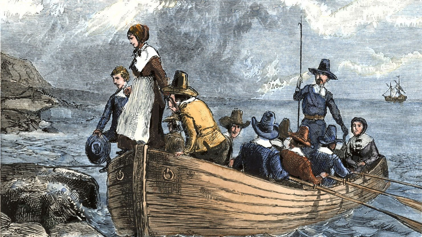 painting of early European colonialists on a row boat