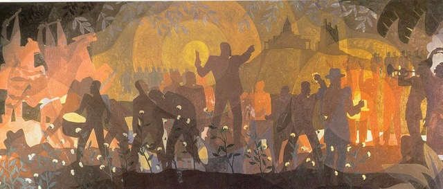 black colored figures against a fiery background