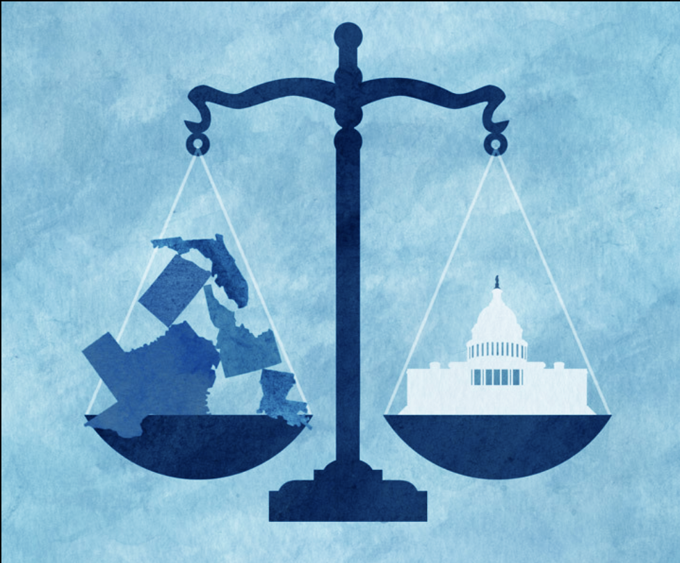 Artistic depiction of scales: one holding US Capitol and one holding images of states