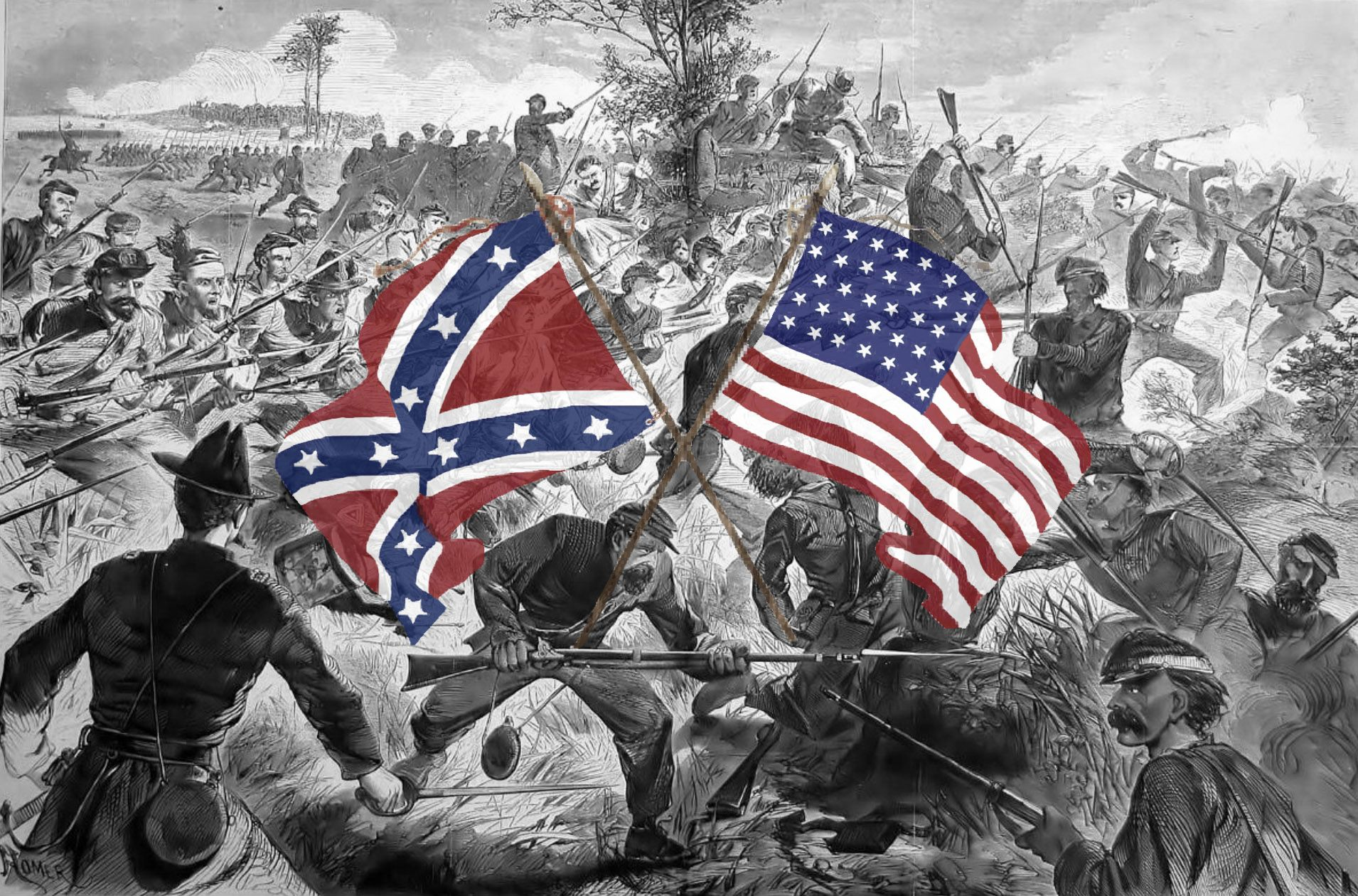 Soldiers fighting civil war battle with colorful images of American and Confederate flags in middle
