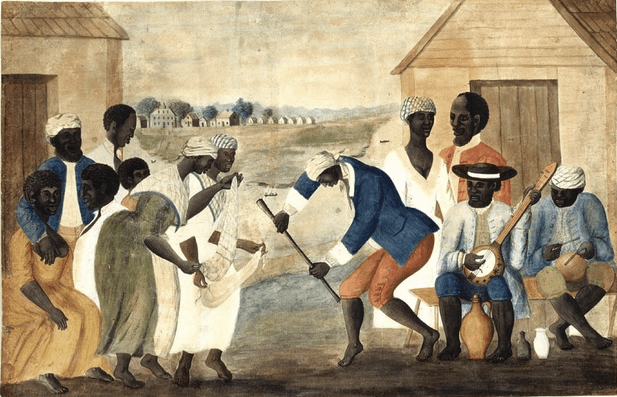 Artistic depiction of people who were slaves on a plantation