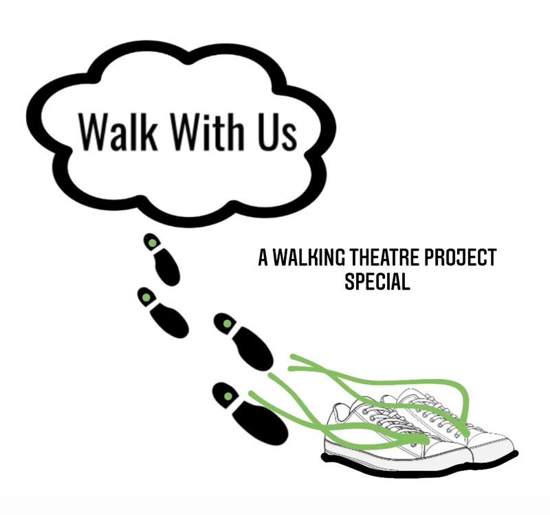 Walking shoes with the words Walk With Us