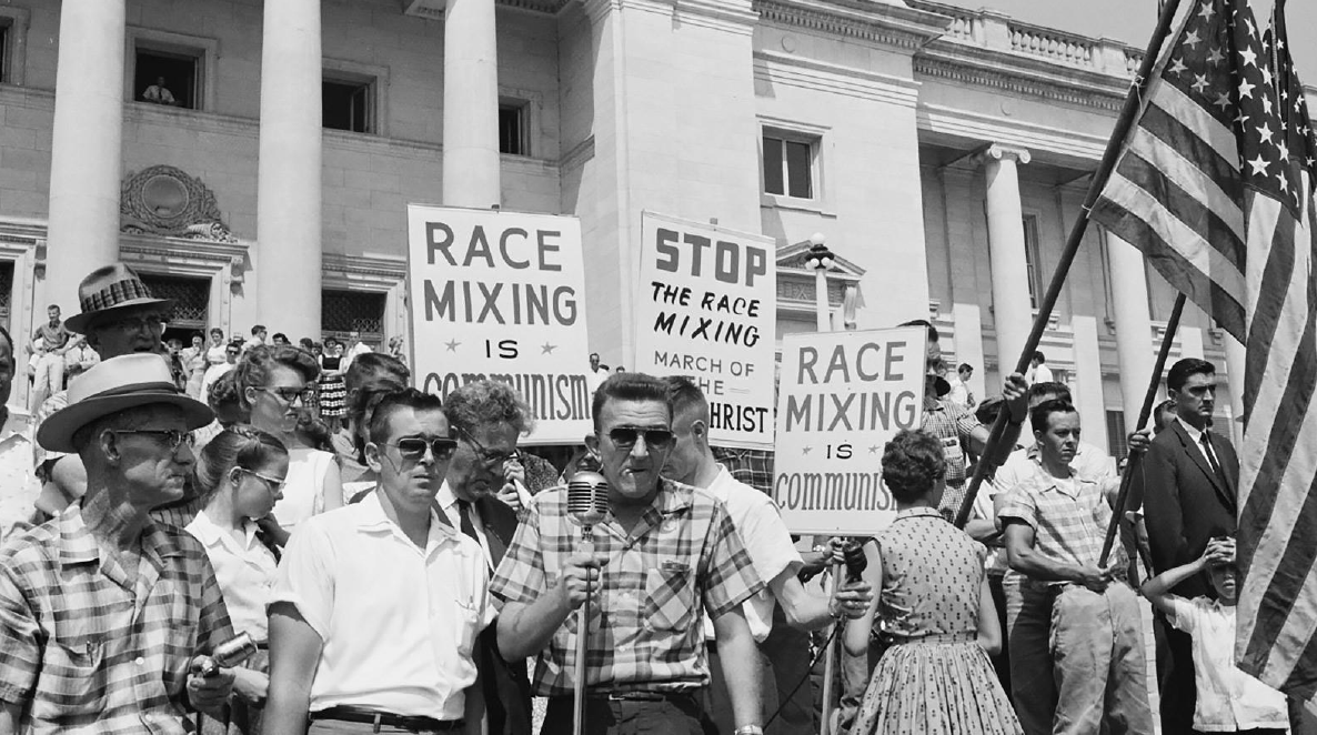 protestors holding signs about race mixing