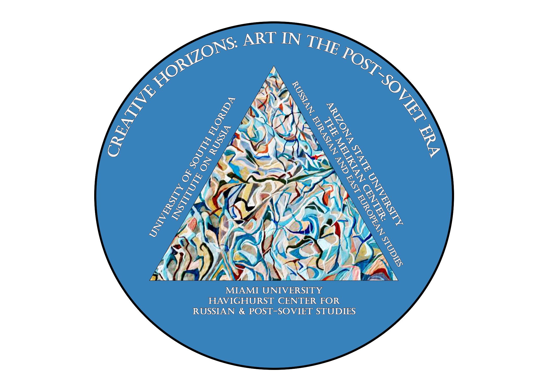 blue circle with multi colored triangle inside of it. banner at the top of circle reads: Creative Horizons: Art in the Post-Soviet Era